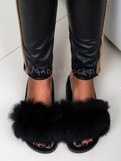 Klapki Madam Fur czarne