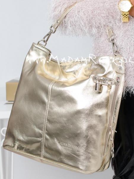 Złota torebka ze skóry Shine