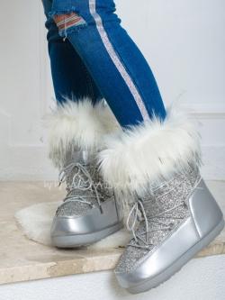 Śniegowce Madam Blanck srebrne