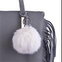 Beżowa skórzana torebka worek z frędzlami