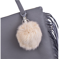 Klasyczna szara skórzana torebka z frędzlami