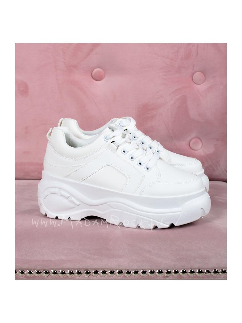 Buty sportowe na platformie Lady Flat białe