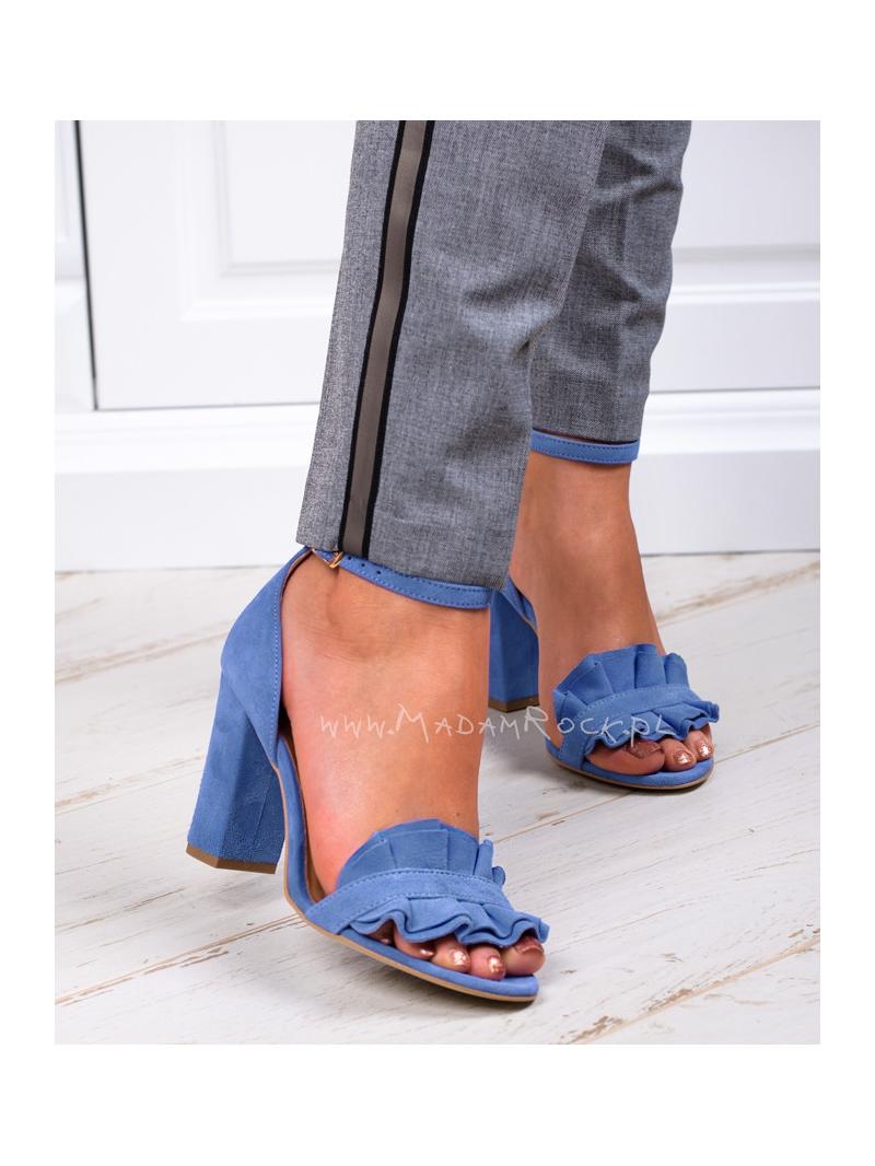 Sandały na słupku Madam Maroko błękitne