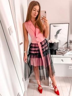 Sukienka elegancka z tiulem