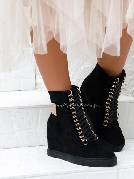 Sneakersy zamszowe Chic czarne