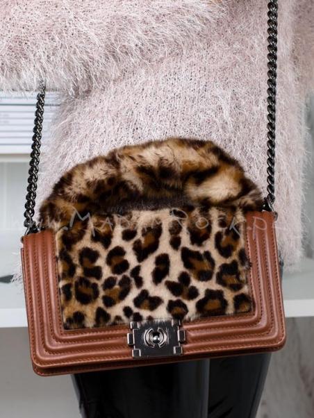 Skórzana torebka z futrem...