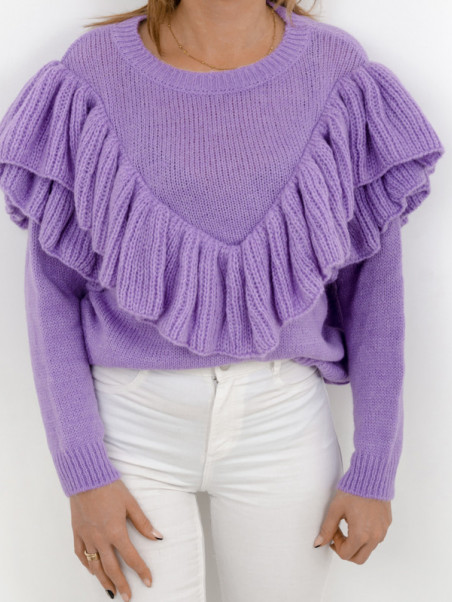 Sweter Madam Valentina z falbanką lila