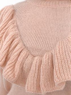 Sweter Madam Valentina z falbanką łososiowy
