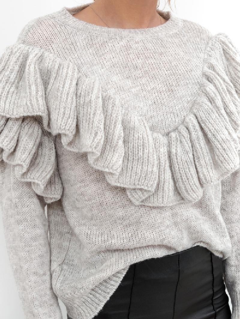 Sweter Madam Valentina z falbanką szary melanż