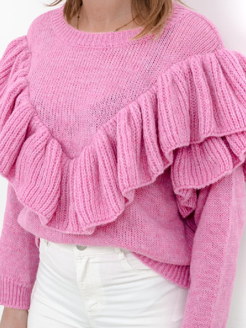Sweter Madam Valentina z falbanką różowy