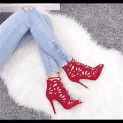 Czerwone sznurowane balerinki lace up