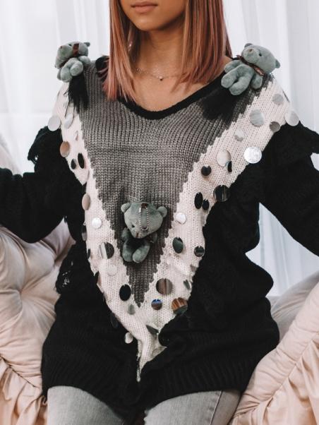 Sweter gruby z misiami czarny