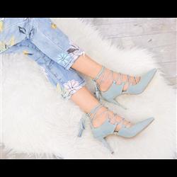 Zamszowe sandały ze skórzaną wstawką lace up