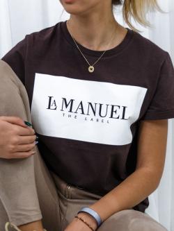 T-shirt bawełniany brązowy