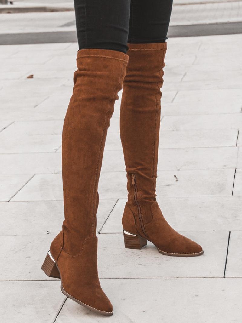 Kozaki za kolano buty damskie zamszowe 41