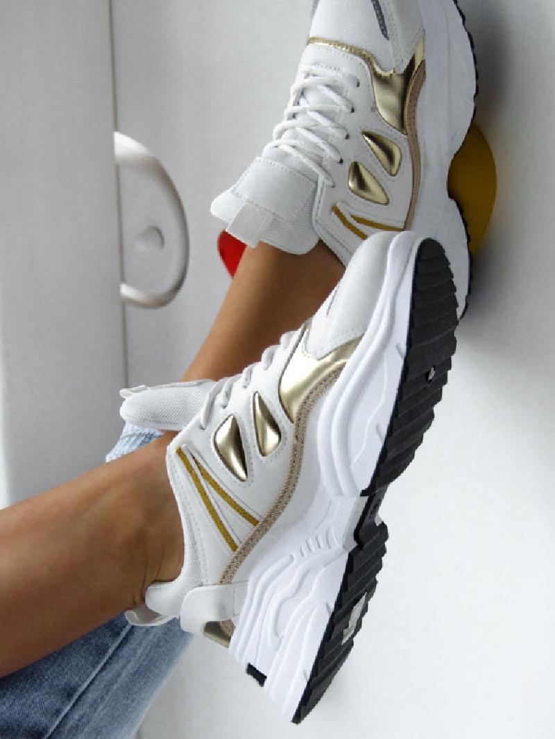 Buty Sportowe Madam Abos Biale Zlote