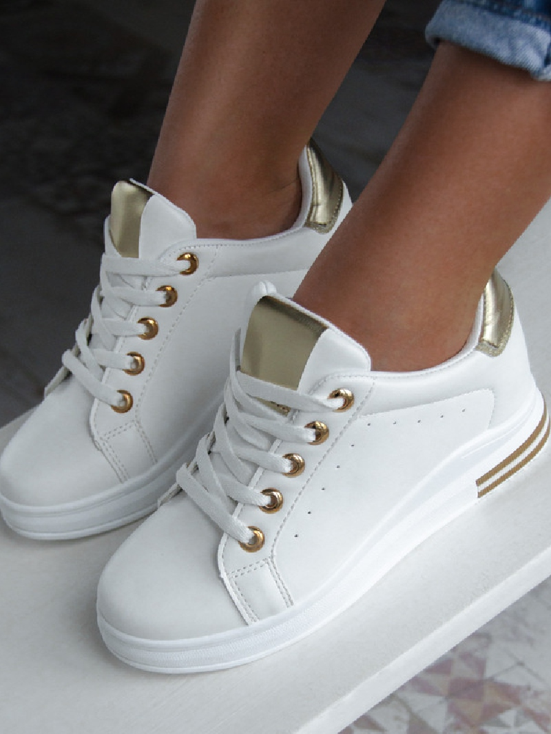 sneakersy białe złote