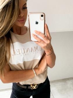 T-shirt bawełniany beżowy