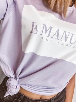 T-shirt bawełniany fioletowy