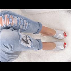 Granatowe zamszowe sandały lace up