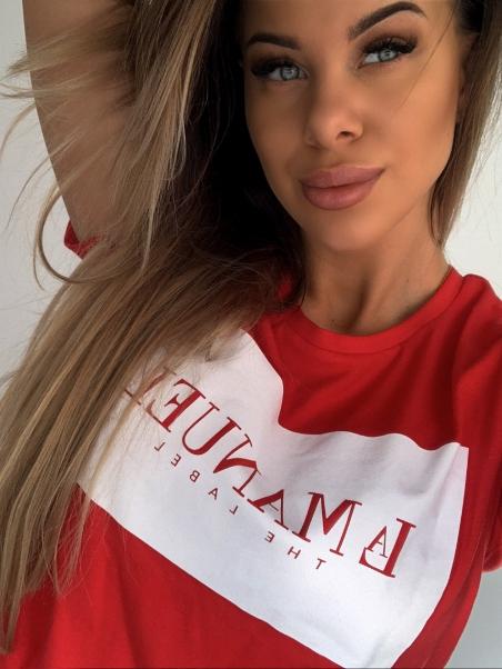 T-shirt bawełniany czerwony