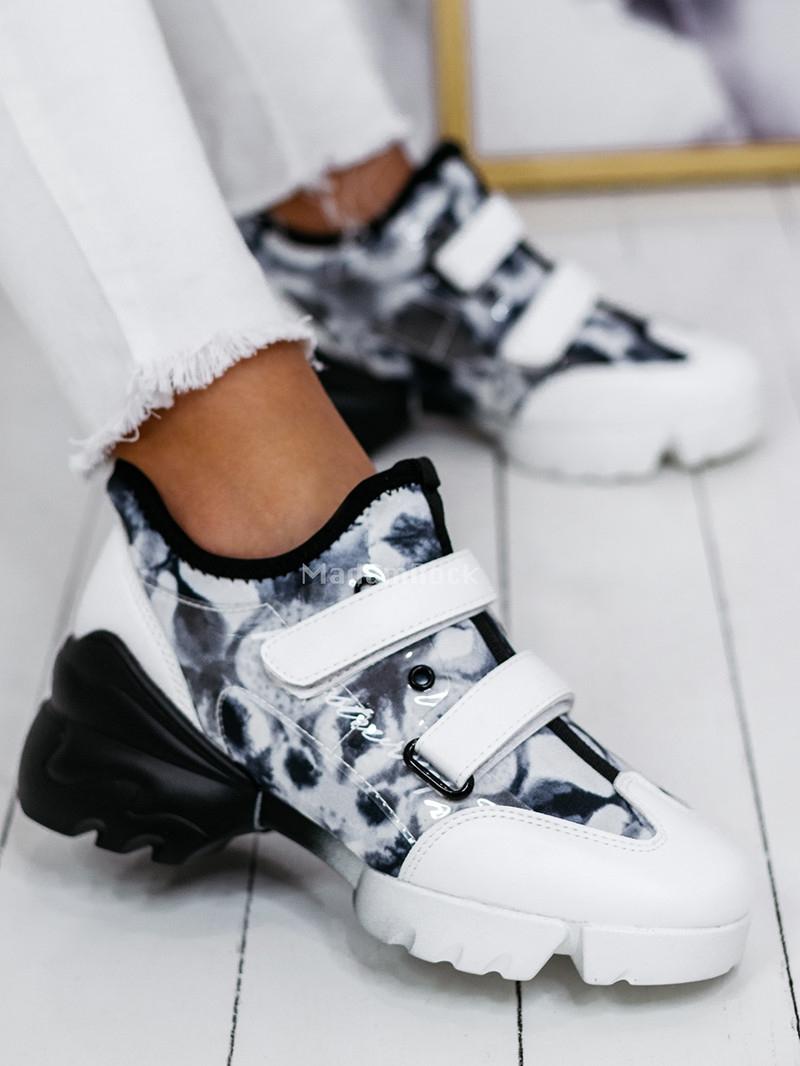 Buty sportowe na rzepy Lady Palma białe czarne