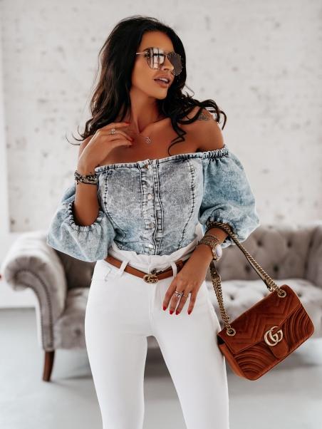 Krótka bluzka jeansowa Verano