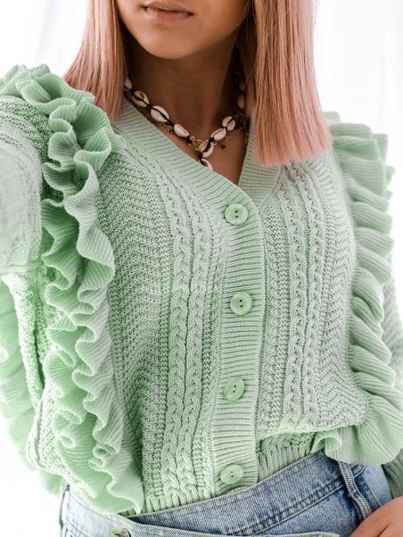 Sweter zapinany z falbanką...