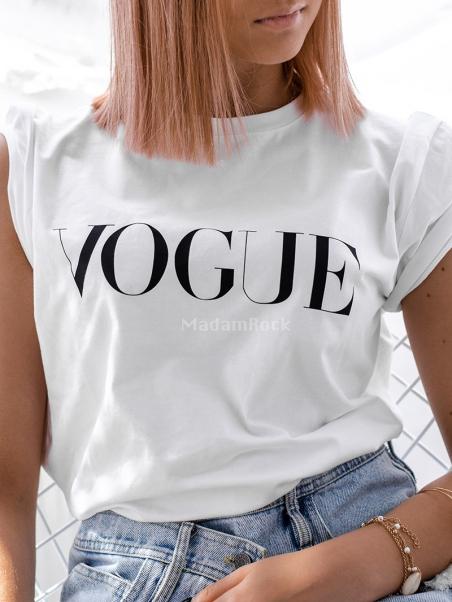 T-shirt bawełniany Vogue biały