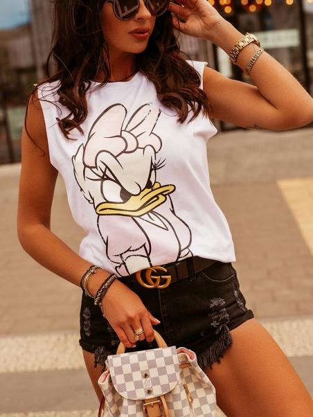 Bawełniany t-shirt Angry biały