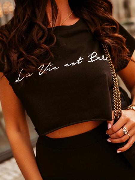 Krótka bluzka Belle czarna