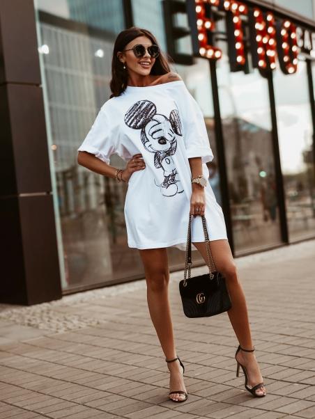 Sukienka oversize Mouse biała
