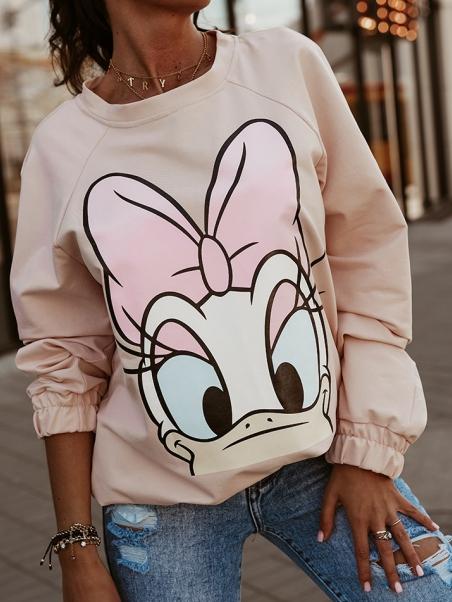 Bluza dresowa Daisy pudrowa