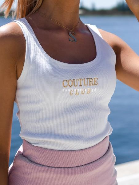 Top prążkowany Couture ecru