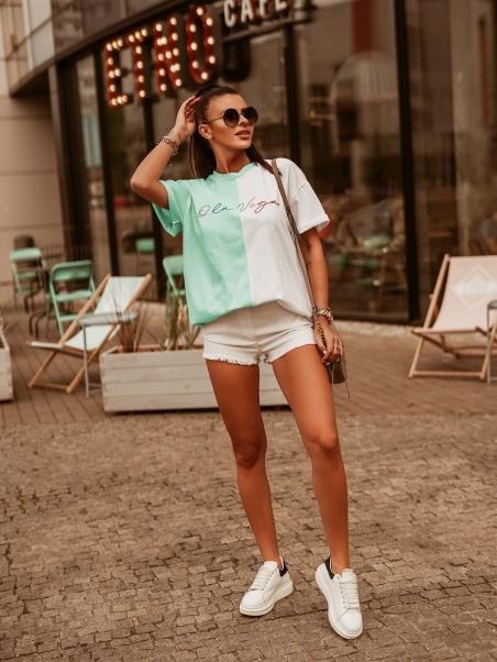 Dwukolorowy t-shirt Olv...
