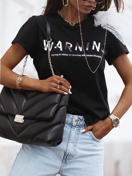 T-shirt Warning czarny
