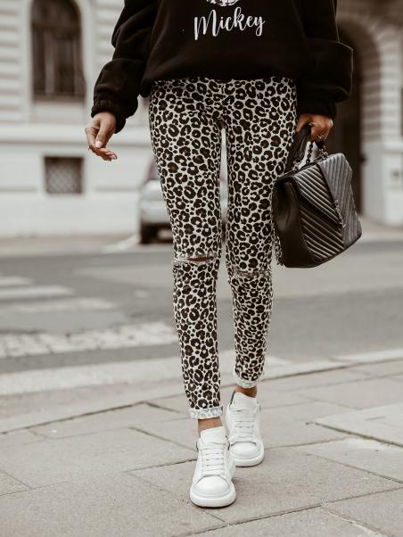 Spodnie jeansowe w print...