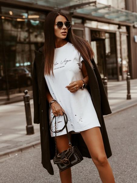 T-shirt overize Holes biały