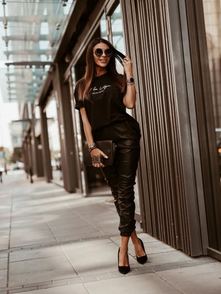 Spodnie Leather Autumn czarne