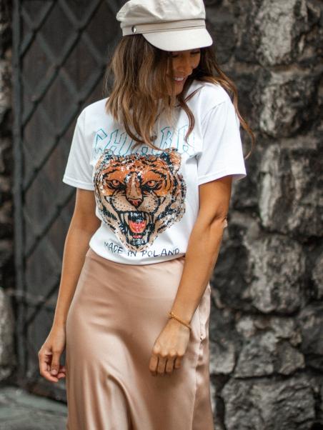 T-shirt z tygrysem Ozi biały
