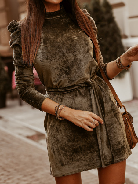 Sukienka z bufkami Sofia khaki