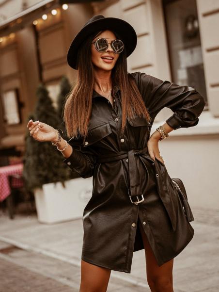 Sukienka z paskiem Leather...