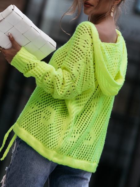 Sweter ażurowy z kapturem...