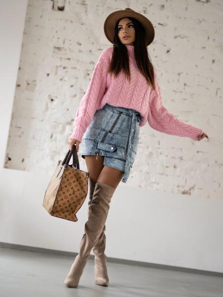 Sweter z golfem Braid różowy