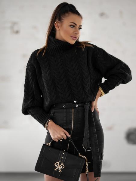 Sweter z golfem Braid czarny