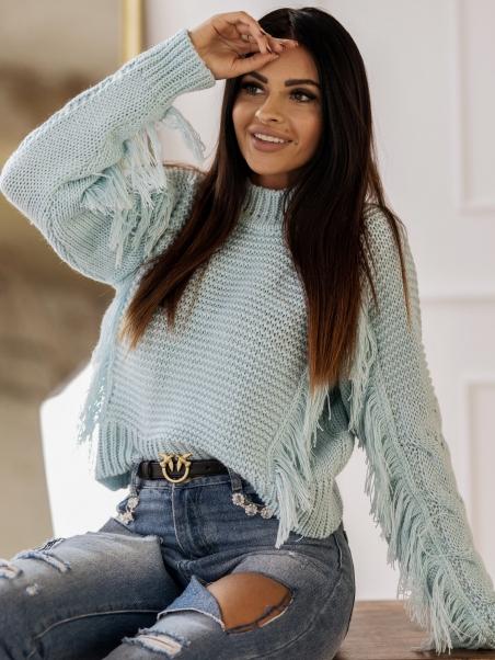 Sweter ciepły z frędzlami...