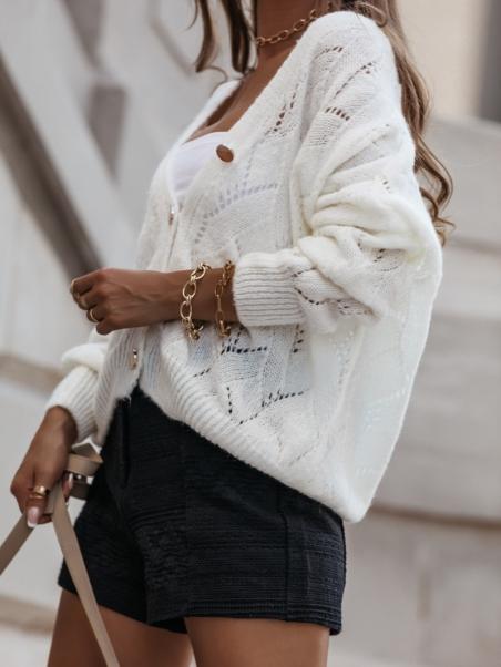 Sweter ażurowy ze złotymi...