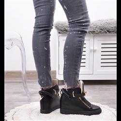 Brokatowe sneakersy czarno-białe