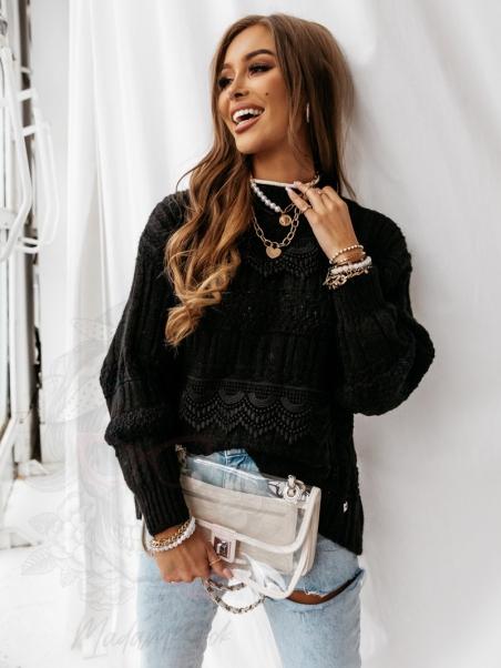 Sweter z koronką Luxo czarny