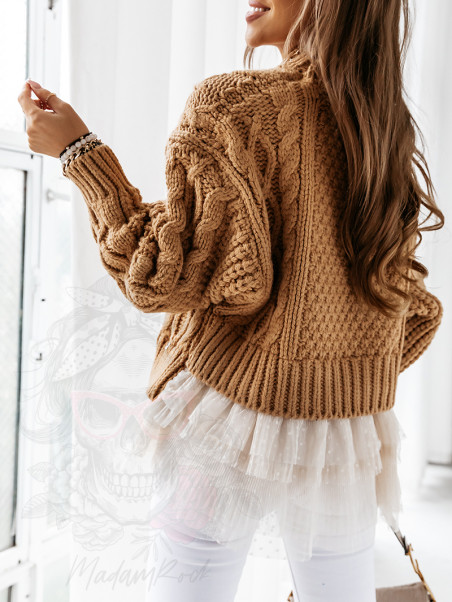 Sweter gruby z tiulem Sash...